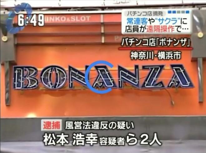 遠隔操作で摘発されたパチンコ店(ボナンザ)